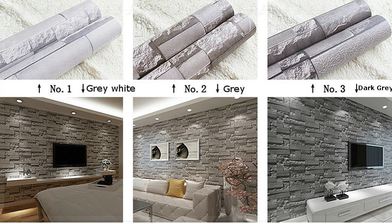 Stacked Brick 3d Stone Wallpaper Modern Wallcovering Pvc Roll Wall Background Grey For Living Room Pin In Wallpapers From Home