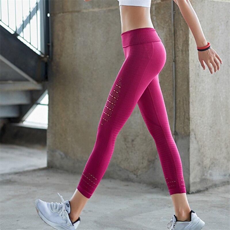 Oyoo mujeres seamless sports capris alto elástico slim yoga leggings alta cintura entrenamiento running 3/4 pantalones del deporte