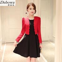 Debowa Siyah Elbise Ve Ceket Kadın Seti İki Adet Suit 2017 yeni Sonbahar Kadın Kolsuz Elbise Ve Uzun Kollu Kırmızı Ceket Suits setleri