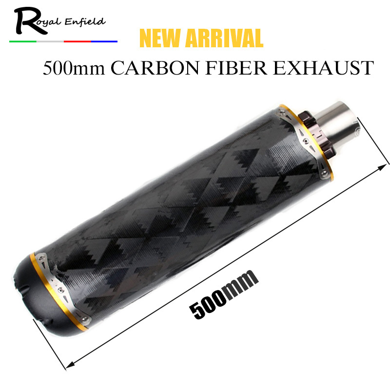 500mm Lengthened Motorcycle Exhaust Muffler Pipe motorcycle pipe Exhaust CNC Aluminium Alloy Carbon Fiber CBR R1 R6 ESCAPE moto