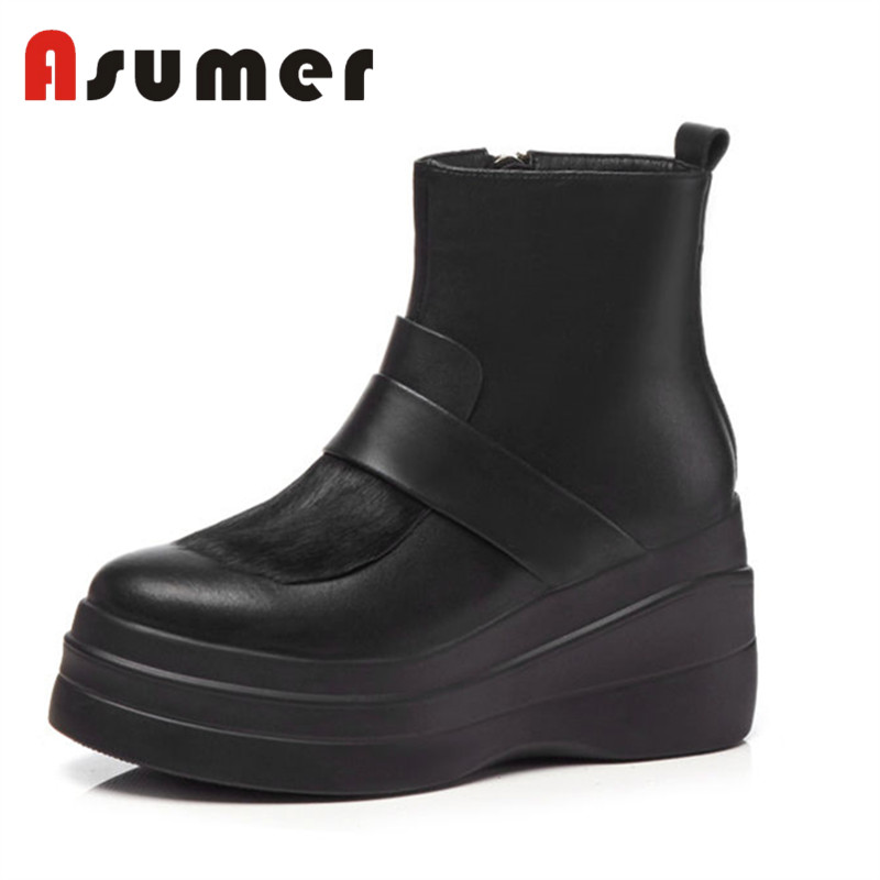 Haute Rond Solide Fur Noir Pour Fur Bout With Classique Femmes Bottes Cuir Black1 Fur Cheville 2018 Asumer Quotidienne black1 Simple Genuien black2 Not Talons Mode XiPZTuOk