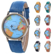 MEIBO Relojes Hombre Unisex Fashion Vintage Casual World Map Men Clock By Airplane Belt Dial Analog Quartz men's Watches Saat