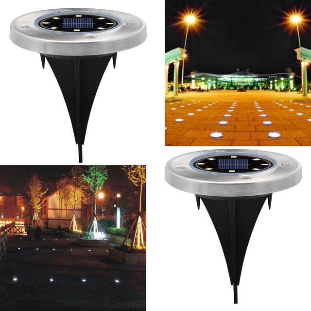 Solar Powered Ground Light Waterproof Garden Pathway Deck Lights With 8  LEDs Solar Lamp For Home