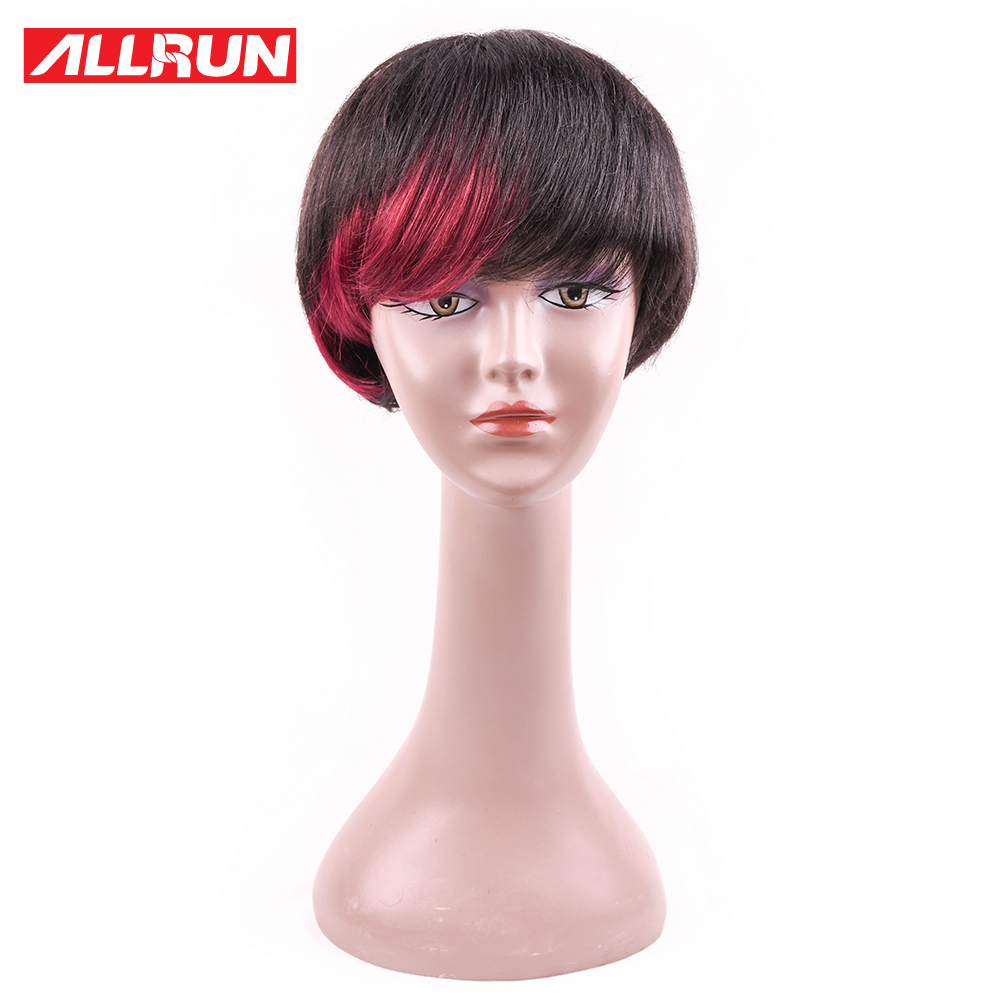 ALLRUN Lace Front Human Hair Wigs For Women P1B/RED Color Short Bob Wigs Malaysia Remy Hair Straight Free Shipping
