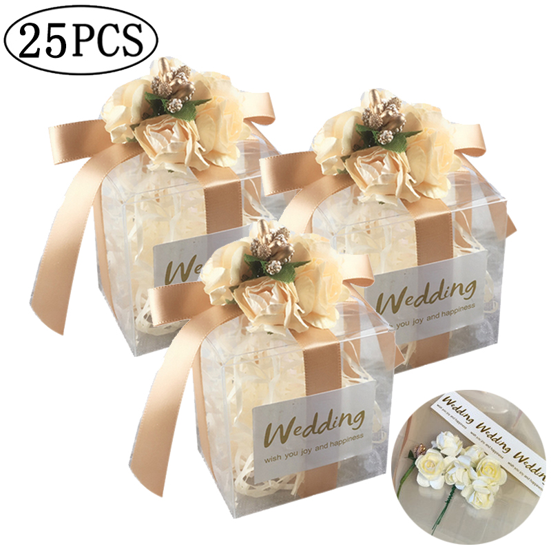 25pcs PVC Candy Box Birthday Party Event Baby Shower Decor Wedding Favor Party Supply Bridesmaid Gift Bag Box With Ribbon Flower