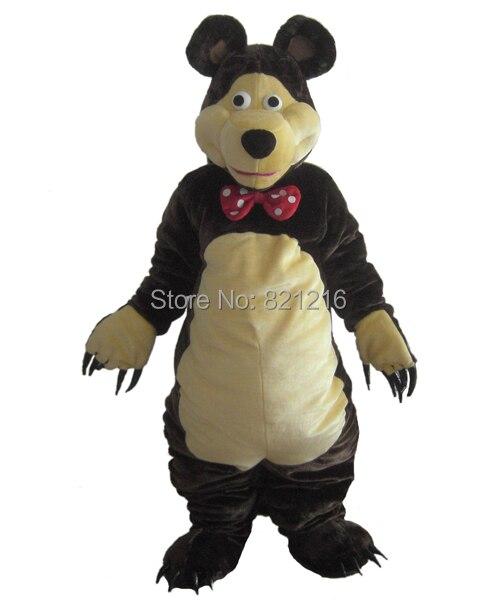 Orso Costume Della Mascotte Marrone Scuro Orso Classico Personaggio Dei Cartoni Animati Vestito Vestito per Halloween del partito di evento