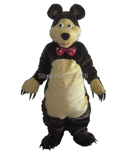 Ours Mascotte Costume Brun Foncé Ours Classique de Bande Dessinée Tenue Vestimentaire du Personnage Costume pour Halloween party événement