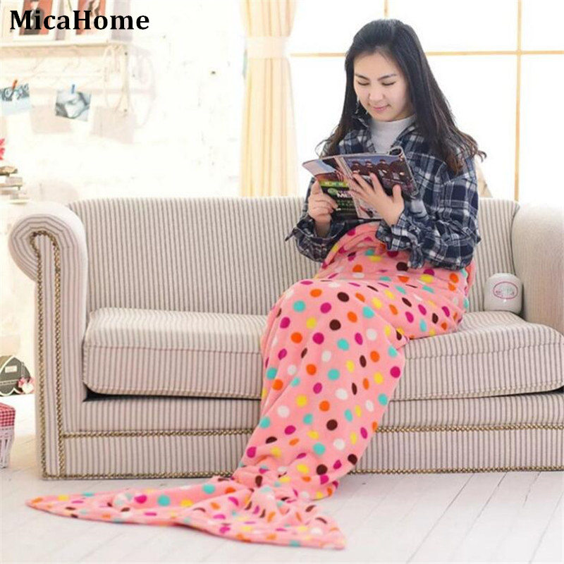 Soft Handmade Mermaid Tail Fleece Blanket Lap Throw Bed Wrap Fin Warm Cocoon Costume Girls Kids Children Sleeping Bag