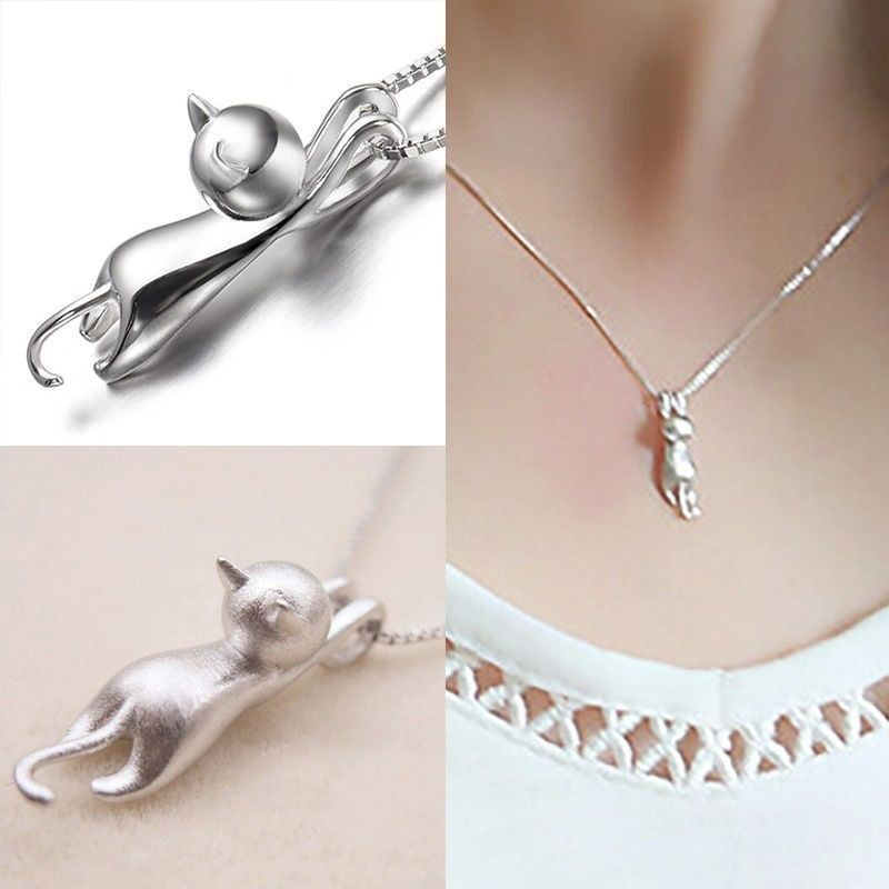 Fashion cute cat necklace pendant for women gift silver gold color fashion cute cat necklace pendant for women gift silver gold plated wholesale trendy animal pet aloadofball Gallery