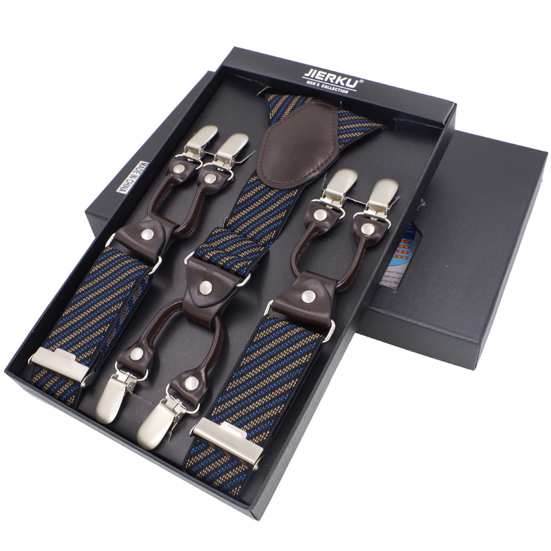 Men's Suspenders Fashion Leather Braces Mens Trouser 6 Clips Adult Suspensorio Tirantes Hombre Bretelles