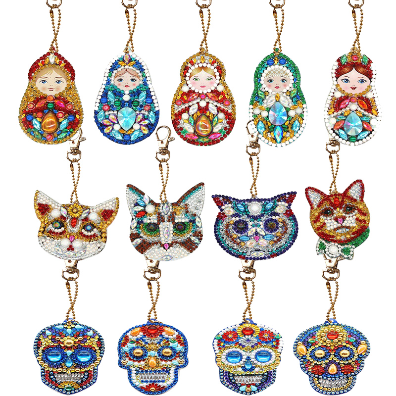 1/4/5 PCS DIY Full Drill Special Diamond Painting Keychain Christmas Tree Keychain Women Bag Pendant Keychains Jewelry Key Ring
