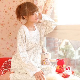2012Specialspring and autumn paragraph pajamas female cotton long-sleeved tracksuit lovely simple piece fitted6976