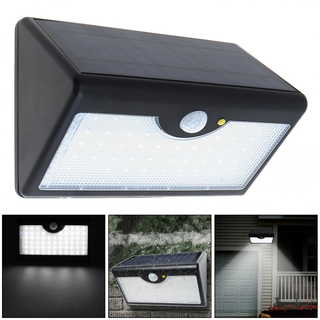 New Super Bright Upgraded 60 LED Rechargeable Solar Power PIR Motion Sensor Wall Light with Five Modes In One Solar Lamps ...