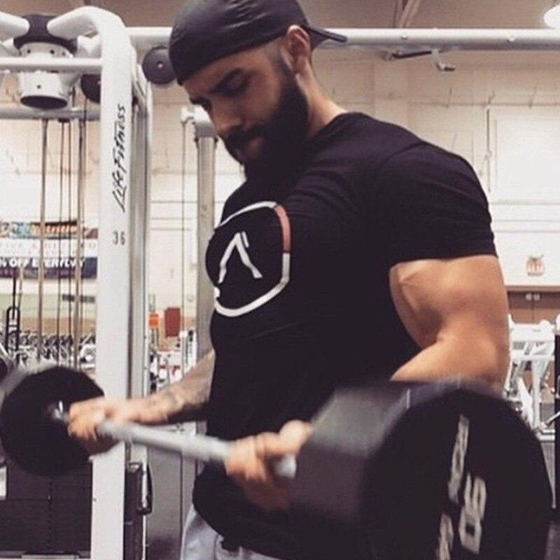 Sommar stil män bomull Kort svart t-shirt Träning Fitness - Herrkläder - Foto 4