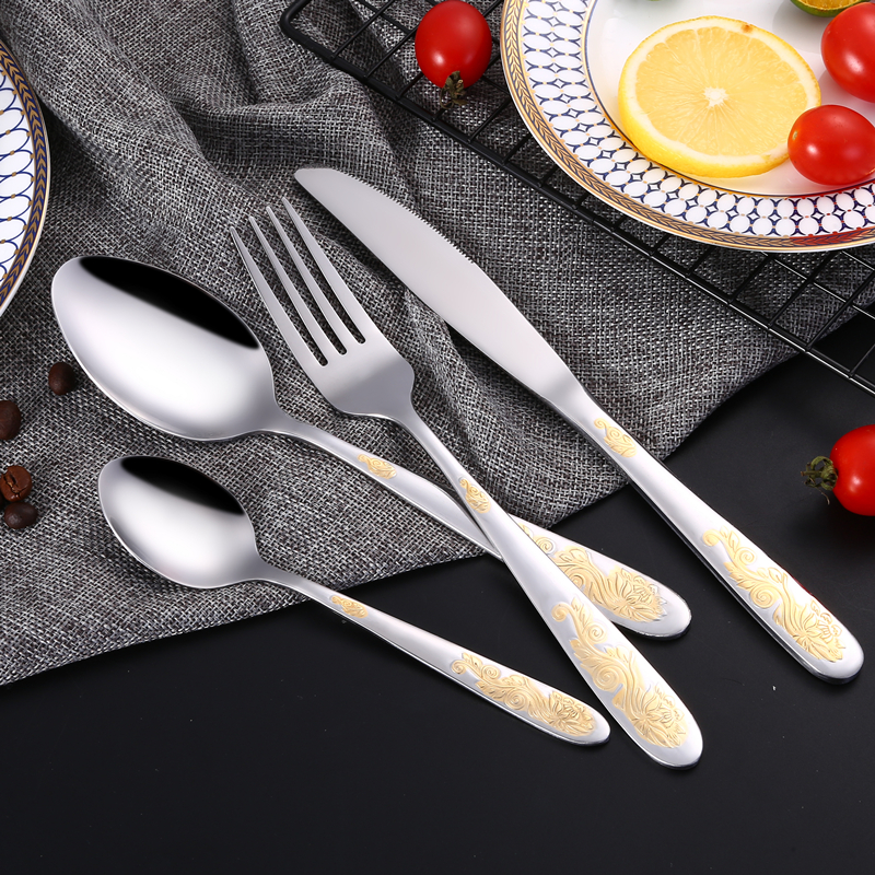 24 Stks / set Rvs Zilver Vergulde Diner Steak Mes Vork Scoop Westerse - Keuken, eetkamer en bar