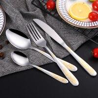 Lemeya 24Pcs/Set Stainless Steel Gold Plated Cutlery Set Dinnerware Silverware Steak Knife Fork Spoon Western Food Tableware Set