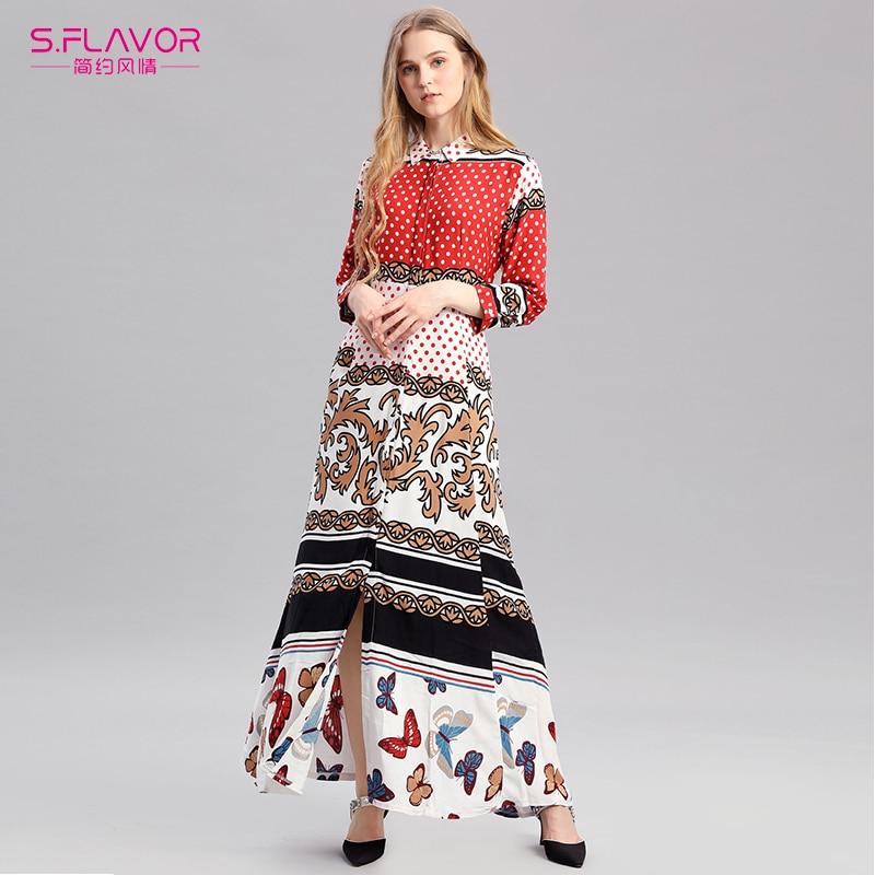 S.FLAVOR 2019 New Spring Summer Bohemian Printing Long Dress Women Turn Down Collar Party Dress Women Vestido Elegant Slim Dress