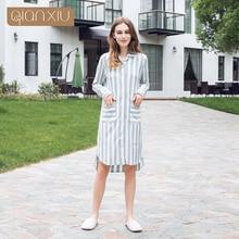 Qianxiu 2017 mới nữ váy ngủ màu kiểm tra Áo sơ mi bán phổ biến thoáng khí buổi tiệc 17115