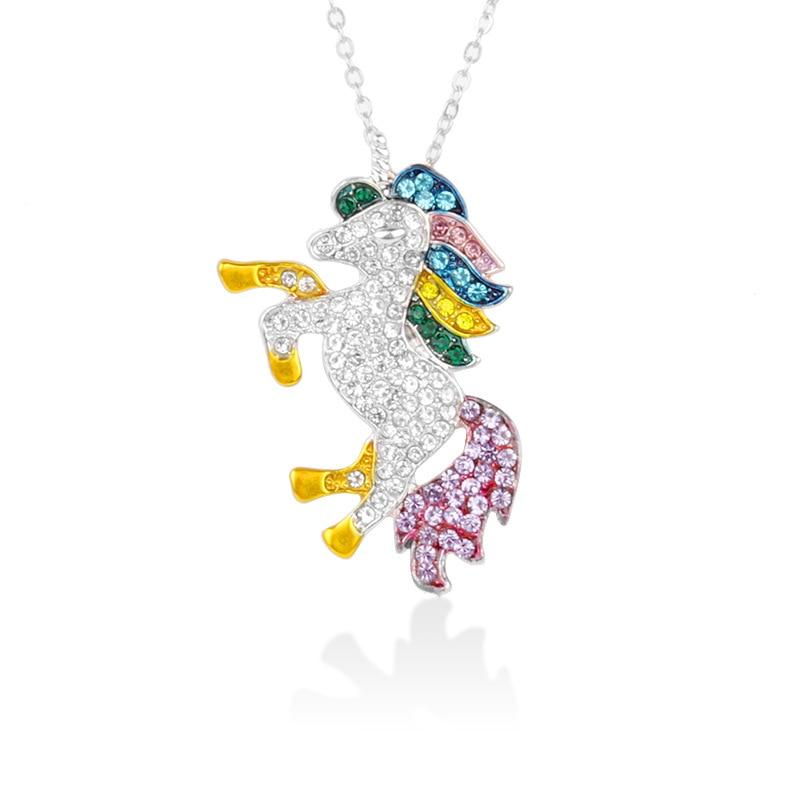 Милое ожерелье с единорогами, модные украшения в виде лошади из мультфильма, аксессуары для девочек, детские, женские вечерние браслеты с подвеской в виде животного - Окраска металла: Silver wt Gold Feet