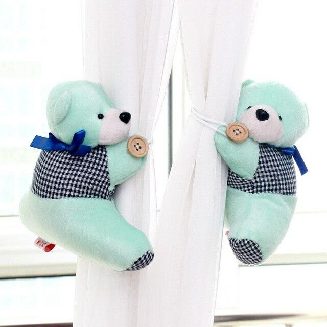 1Pair Cute Plush Bear Curtain Strap Cartoon Curtain's Clip Buckle ...