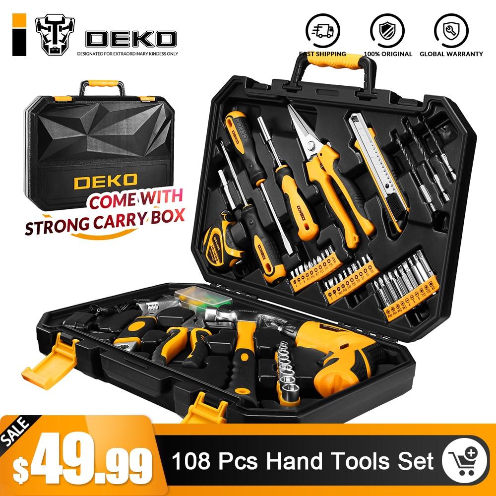 DEKO TZ108 торцевой ключ бытовыми Комбинации Набор инструментов w/3,6 V Аккумуляторный шуруповерт и Toolbox чехол для хранения