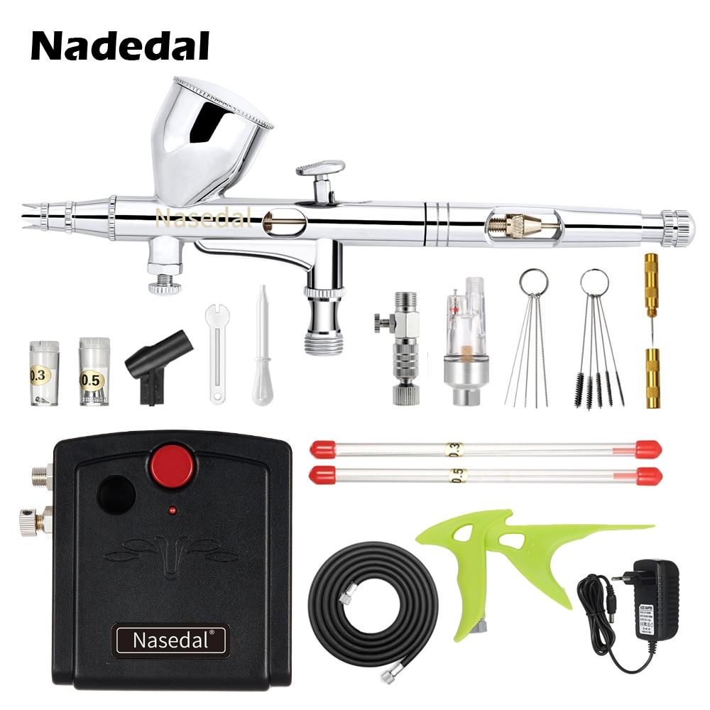 Nasedal NT-18 Mini Airbrush Compressor Kit Dual-Ação Airbrush Pintura Spary Gun para Nail Art para o Bolo de Pintura Do Carro modelo de maquiagem