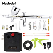 Nasedal NT-18 Mini Airbrush Kompressor Kit Dual-Action Airbrush Spary Farbe Gun für Nail art für Kuchen Auto Malerei make-up Modell(China)