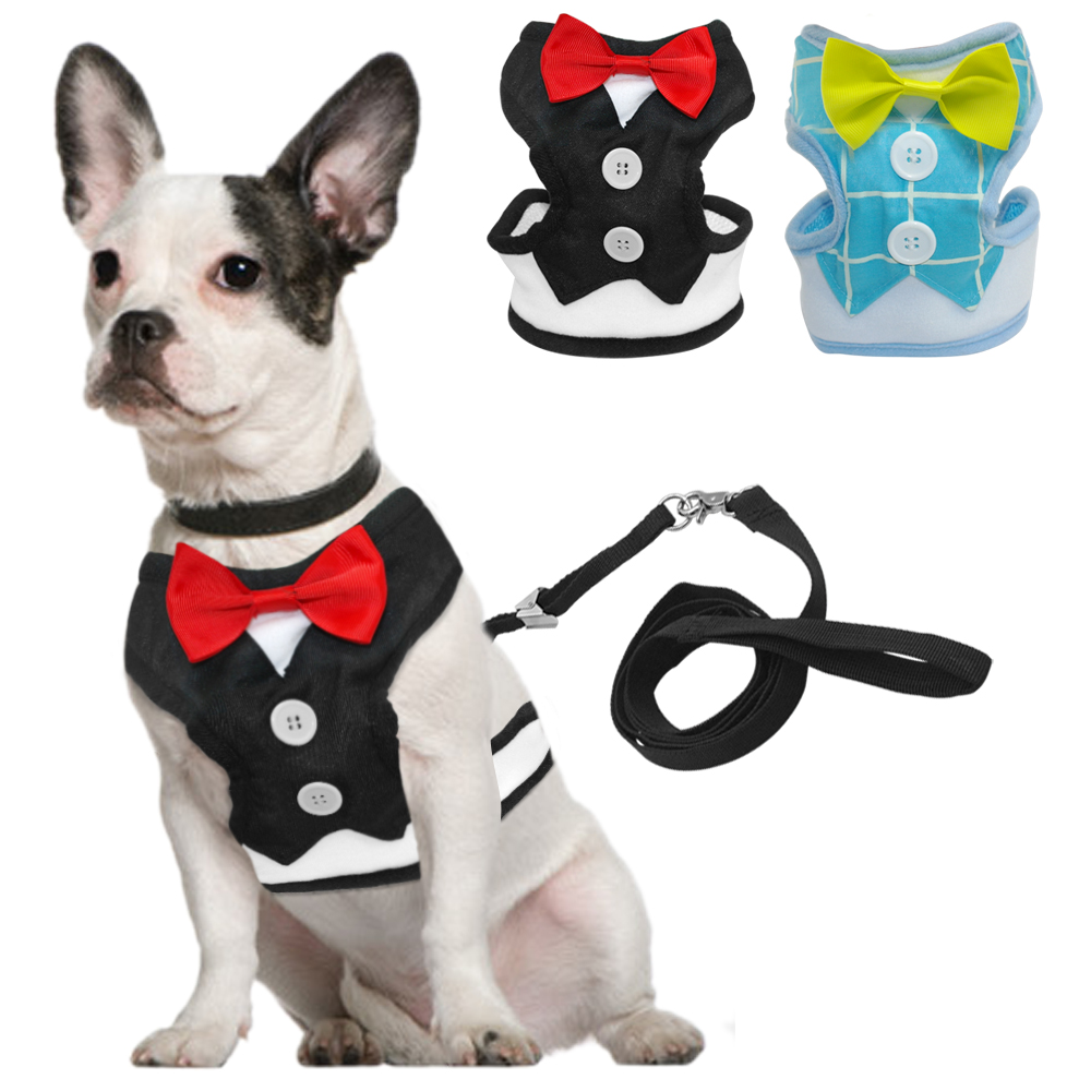 Fashion Red Bowtie Gentleman Suit Boy Dog Tuxedo Easy Walk Harness Vest Dog Leash Leads Set For Small Medium Dogs S M L