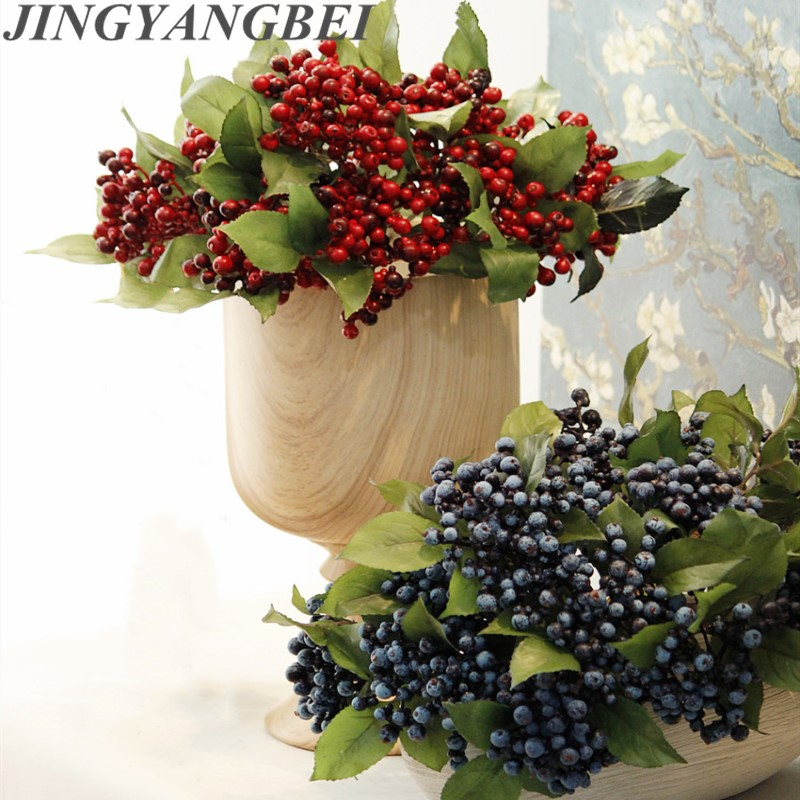 30cm Foam Artifical 3 Fork Blueberry Fruit PE Berry Branch Desk Flowers Home Decoration Fake Flower Christmas Decoration