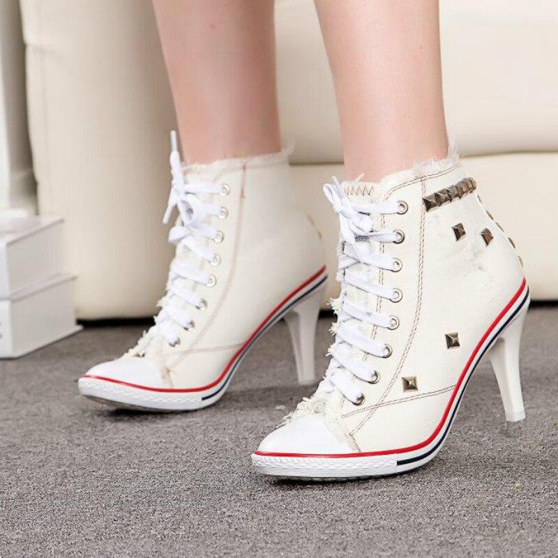 Bottines Femmes Cm Mode Lacets Yasilaiya 8 Rivets Blue Toile Talons Denim Cm light 2019 Chaussure Chaussures Pour Noir De Courtes bleu Tennis Haute 6 Hauts blanc OFqwxdzU