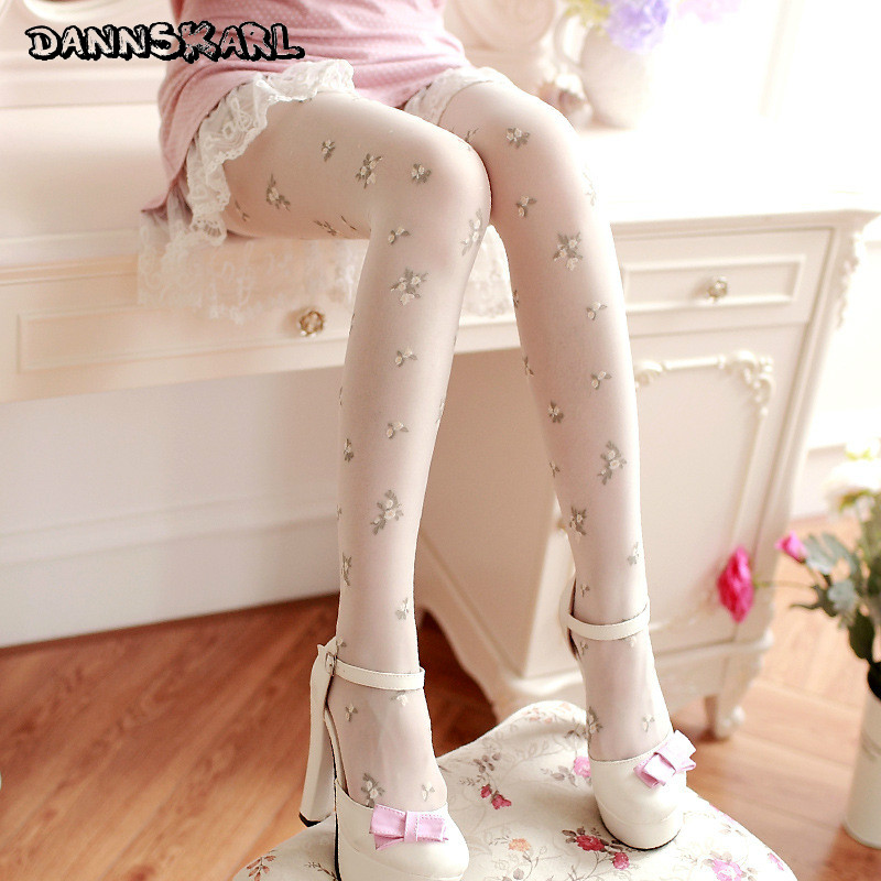 2018 New Japanese Style Women Sweet Tights Retro Flower Women Pantyhose Stockings Show Thin Beauty Tights Woman Silk Stockings