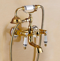 Brand New High Quality Brass Material Gold Finished Wall Mounted Bath Faucet Set Shower Faucet Set