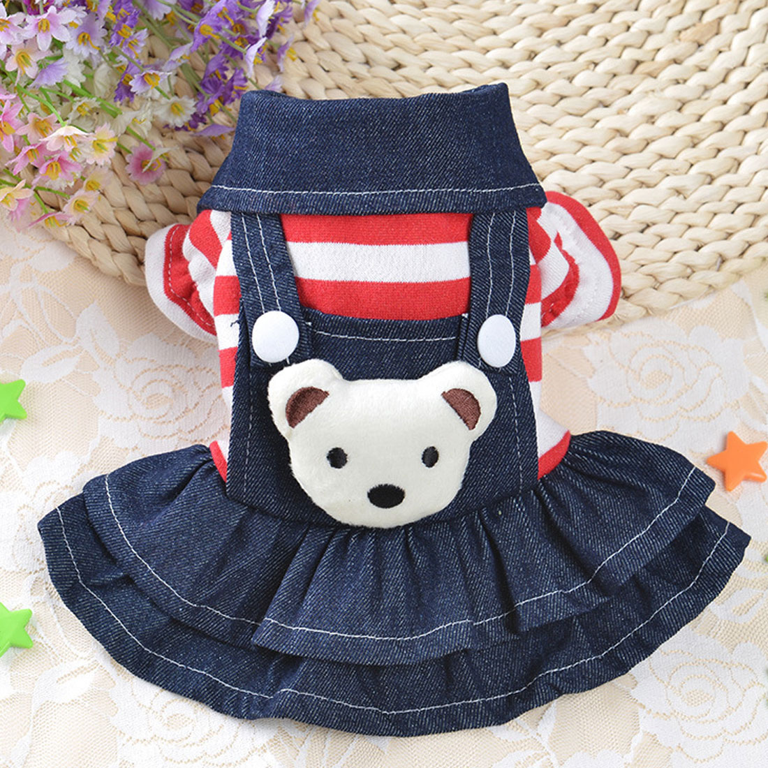 Cute Pet Dog Suspender Xs Xl Jean Skirt Clothes For Small
