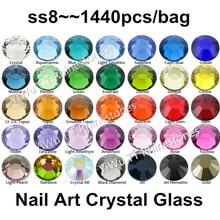 Super Shiny 1440pcs/lot,SS8 (2.3-2.4mm) Multi Colors Crystal AB 3D Flat Back Non Hotfix Nail Art Rhinestones Decoration