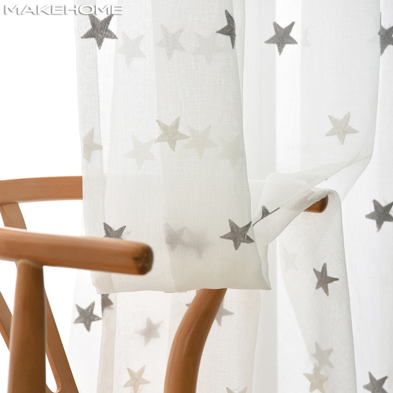 MAKEHOME Tulle Curtains Room-Door Window-Cur Living-Room Embroidered Kitchen White Baby