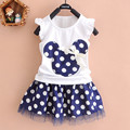 Fashion children clothing cute girls summer sets shorts dots tops + blue skirt kids toddler summer sets