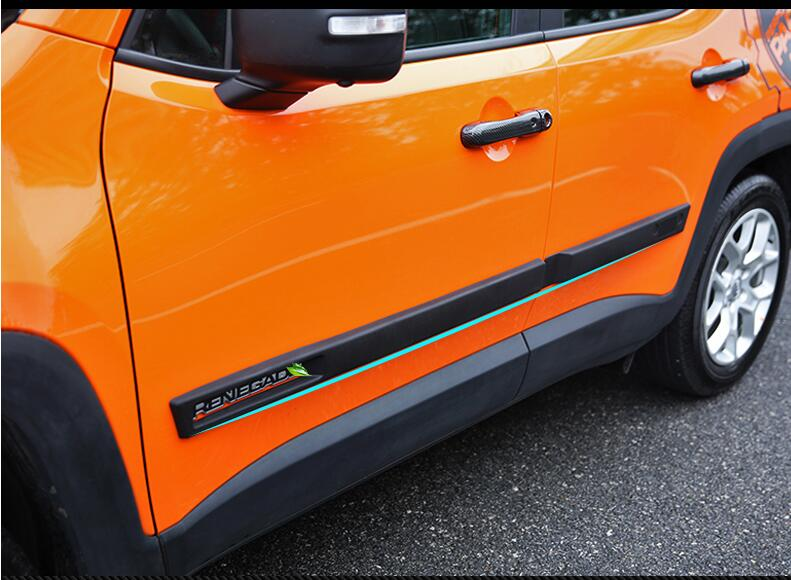 JIOYNG ABS CAR SIDE DOOR BODY PROTECTOR Molding COVER TRIM FOR Jeep Renegade 2015 2016 2017 2018 BY EMS (5 Style)