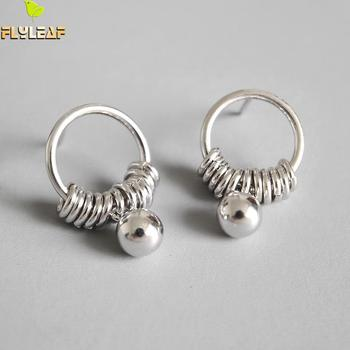 Flyleaf 925 Sterling Silver Earrings For Women Circle Tassel Beads Femme Drop Earings Fashion Jewelry Student Simple Party flyleaf handmade 925 sterling silver asymmetry drop earrings for women round circle dangle statement earings fashion jewelry