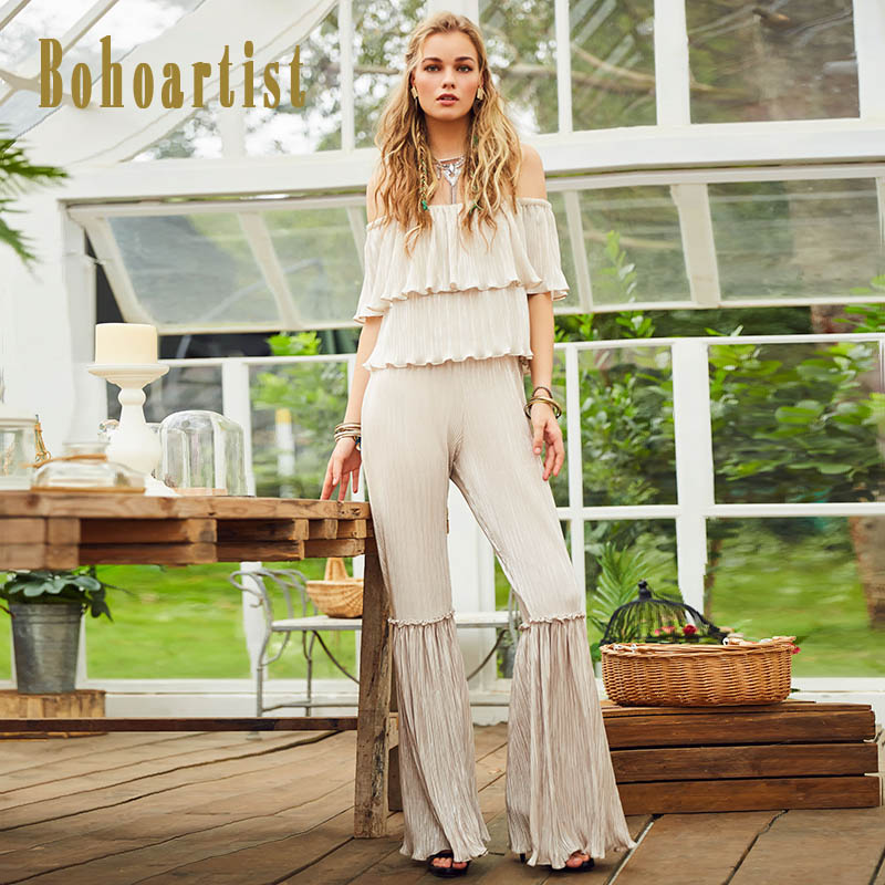 Bohoartist Women   Jumpsuit   2018 Slash Neck Ruffles Bellbottoms Pleated Elegant Slim Backless Ladies Silver Fashion   Jumpsuits   New
