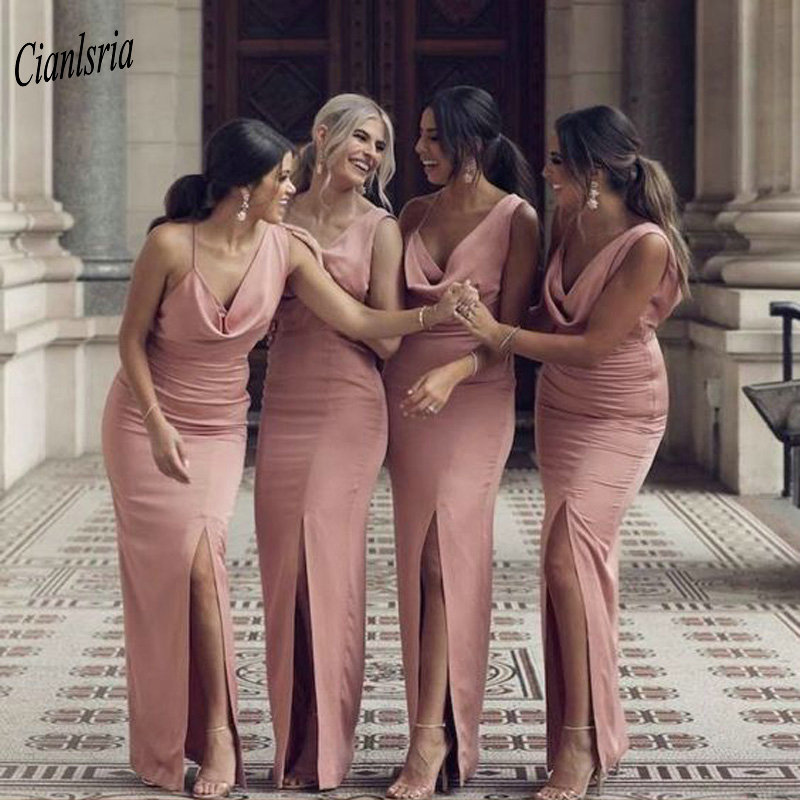 Pink Front Split Long Sheath   Bridesmaid     Dresses   Criss Cross Back Wedding Guest   Dress   For Wedding Party vestido madrinha