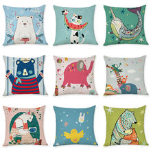 Fashion creative cartoon animal cat elephant giraffe bear printed cotton linen pillowcase office cushion cover car pillow(China)