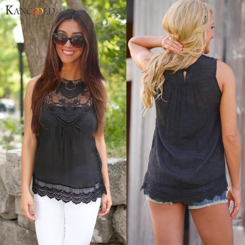 KANCOOLD womens tank tops crop top Women Summer female Vest Top Sleeveless Blouse Casual Tank Tops Shirt Lace women APR5