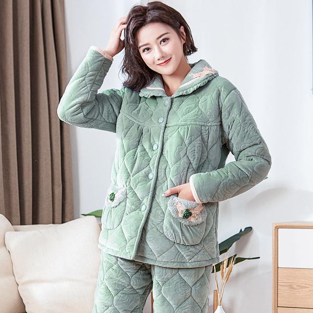 f302e2fd4e Quilted pyjamas women plus size XXXL nightgown sleepwear night shirt  nightdress women s pajamas thick winter snow quilted jacket