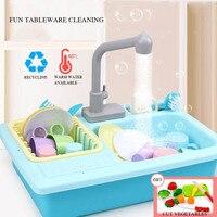 Mini Kitchen Toy Set Kids Stimulation Kitchen Sink Faucet Plastic Utensil Pretend Children Gift Cooking Tool Set Girl Boy Game