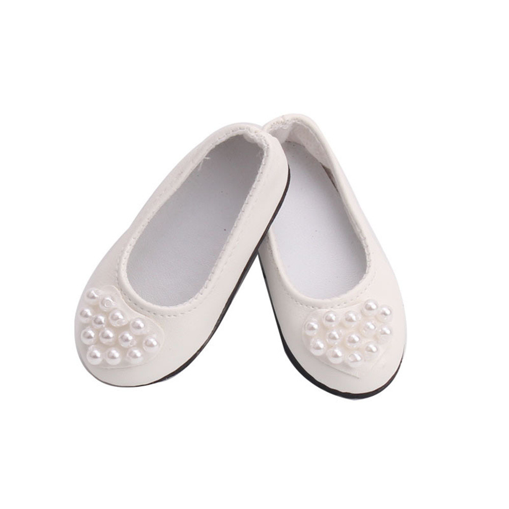 Doll Shoes White Dress Shoe For 18 Inch For Our Generation American Girl Doll Pearl Shoes Dolls For United States girls JA18b glitter doll shoes star dress shoe for 18 inch our generation american girl doll