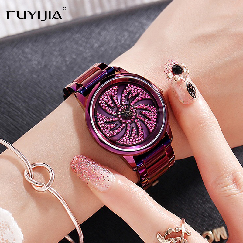 FUYIJIA Watches Women's Quartz Watch Purple Diamond Luxury Watch Brand Fashion Dress Ladies Steel Bangle Watch Lady Waterproof onlyou brand luxury fashion watches women men quartz watch high quality stainless steel wristwatches ladies dress watch 8892