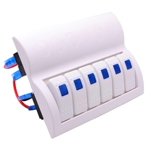 Boat Marine Blue Led 6 Gang Splashproof Waterproof Rocker Switch Panel White