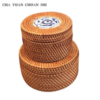 1PC CHAYUANCHUANSHI Handmade Rattan Products Small Storage Boxes Sundries Boxes Tea Dessert Snack Boxes Home Storage