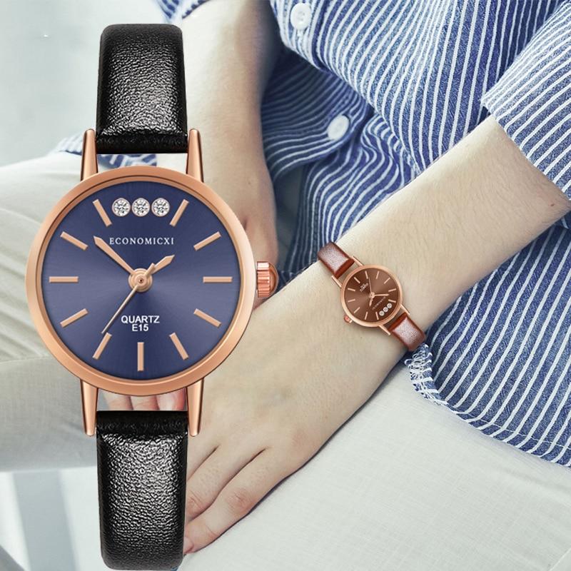 Classic Watch Diamond SimpleQuartz Luxury Retro Pattern Exquisite Casual Women Gold Leather Strap WristWatch Relogio Feminino