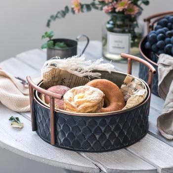 Scandinavian Metal Storage Basket with Handles Iron Vintage Elegant Luxury Desk Storage Organizer Decor Fruit Basket for Home
